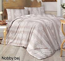 Постельное белье ранфорс Altinbasak (евро-размер) простынь на резинке № Nobby Bej