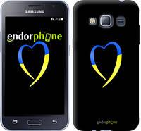 "Чехол на Samsung Galaxy J1 (2016) Duos J120H Жёлто-голубое сердце ""885c-262-2448"""