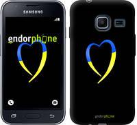 """Чехол на Samsung Galaxy J1 Mini J105H Жёлто-голубое сердце """"885c-258-2448"""""""