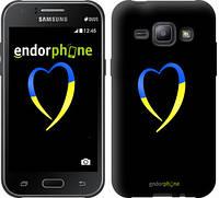 "Чехол на Samsung Galaxy J1 J100H Жёлто-голубое сердце ""885c-104-2448"""