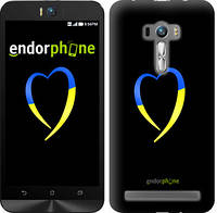 """Чехол на Asus ZenFone Selfie ZD551KL Жёлто-голубое сердце """"885c-116-2448"""""""