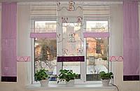 Занавески 7шт Мишки розовые и сирень, фото 1