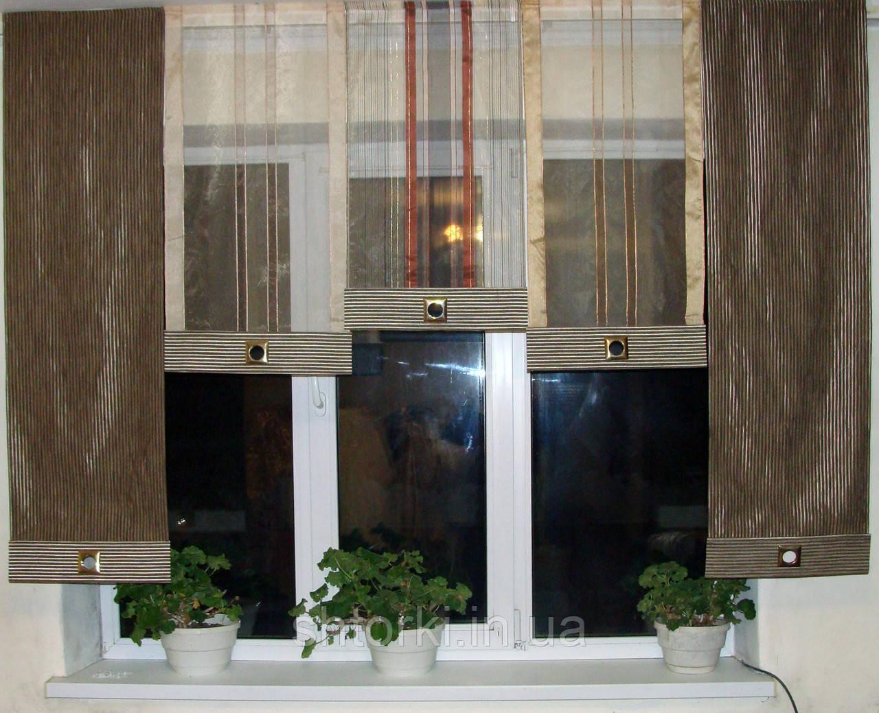 Панельные шторы Полоски шоколад