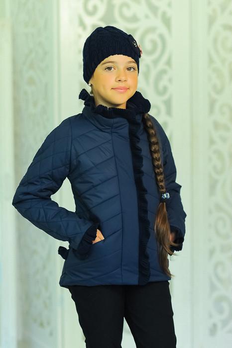 Детская демисезонная куртка с шапочкой, джинс, р.122,128,134