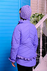 Детская демисезонная куртка с шапочкой, лаванда, р.122,134, фото 3