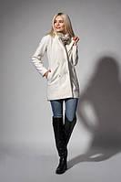 Теплое легкое пальто из шерстяной пальтовой ткани молочного цвета