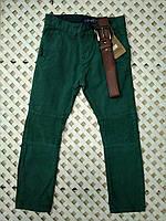 Детские стильные котоновые зеленые штаны с поясом 116-140
