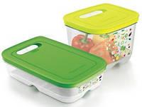 """Набор контейнеров """"Умный холодильник""""  для длительного хранения овощей 1 низкий 2 высоких 1.8 л купить 3 шт., фото 1"""
