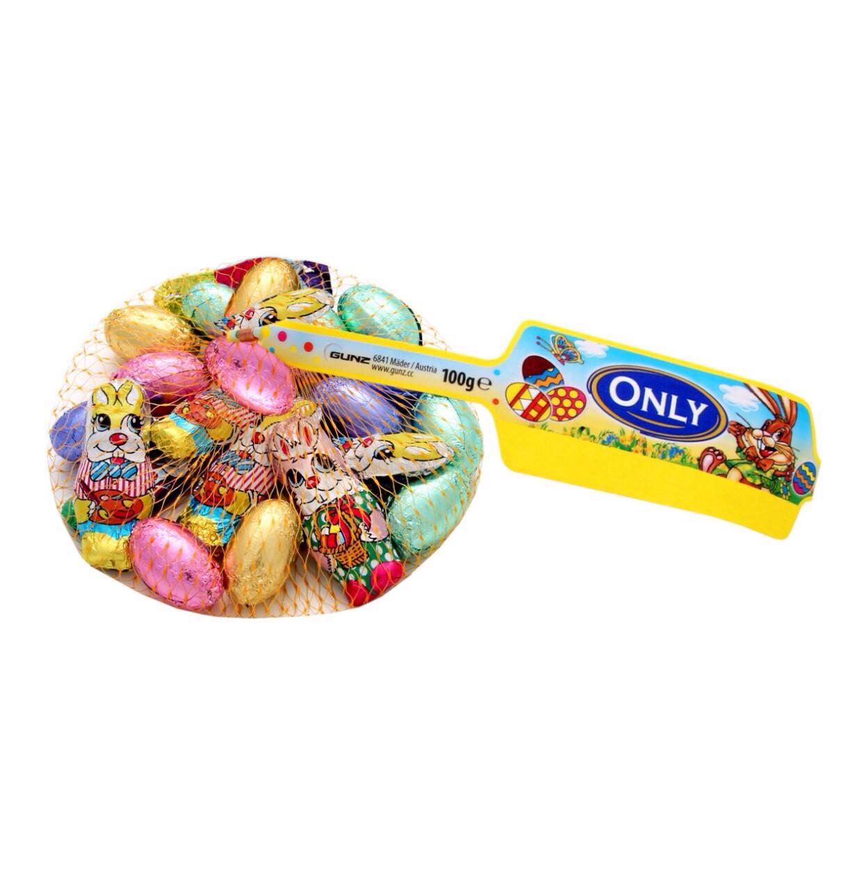 Шоколадные Зайчики и цветные яйца (молочный шоколад) Onliy Австрия 100г