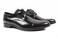 Туфли мужские Conhpol натуральная лаковая кожа, цвет черный (каблук, комфорт, весна\осень, Польша)