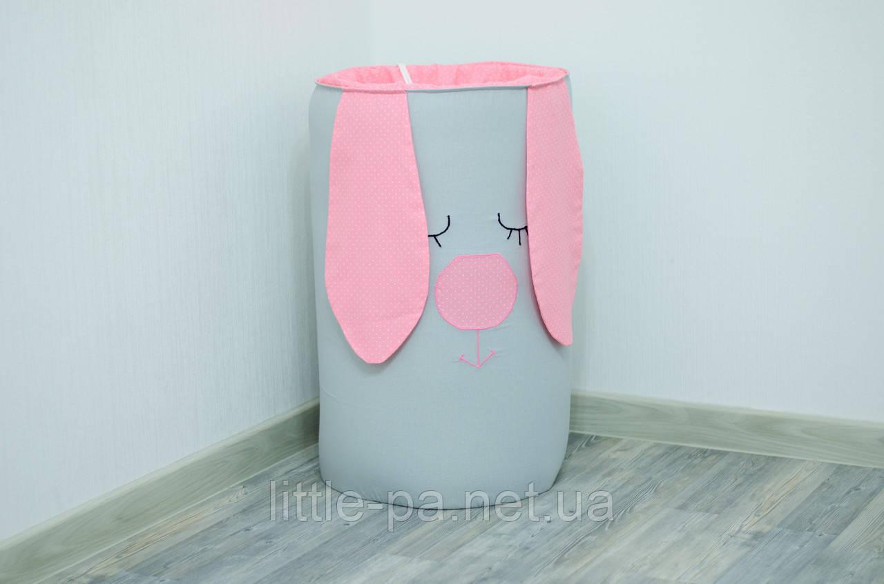 Корзина для игрушек мягкая их хлопка  «Розовый зайка»