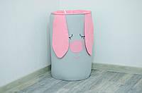 Корзина для игрушек мягкая их хлопка  «Розовый зайка», фото 1