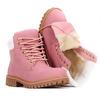 Женские тёплые ботинки, модные цвет-розовый