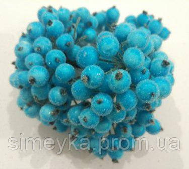 Калина декоративная светлая бирюза сахарная, соцветие из 40 ягод, диаметр ягоды 12мм, длина проволоки 12см