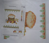 """Схема для вышивания бисером """"Салфетка пасхальная 206""""."""