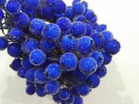 Ягода морозная декоративная синяя, соцветие из 40 ягод, диаметр ягоды 12мм, длина проволоки 12см, фото 1