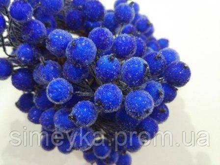Ягода морозная декоративная синяя, соцветие из 40 ягод, диаметр ягоды 12мм, длина проволоки 12см