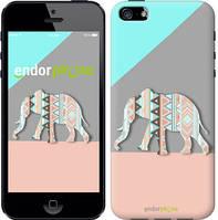 """Чехол на iPhone 5s Узорчатый слон """"2833c-21-2448"""""""