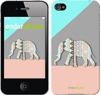 """Чехол на iPhone 4 Узорчатый слон """"2833c-15-2448"""""""