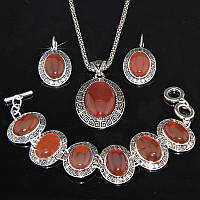 Ювелирный набор, красный АГАТ, покрытие серебром