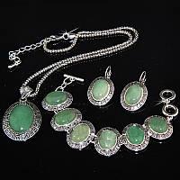 Ювелирный набор, зеленый НЕФРИТ, покрытие серебром