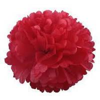 Помпон - Шар из тишью красный 25 см