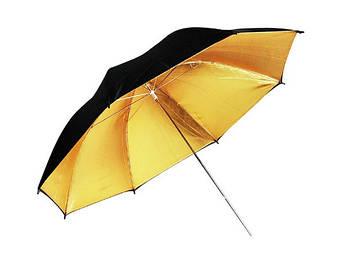 Фото-зонт для фотостудии 2 в 1 (черно-золотой) 110 см на отражение плюс белый