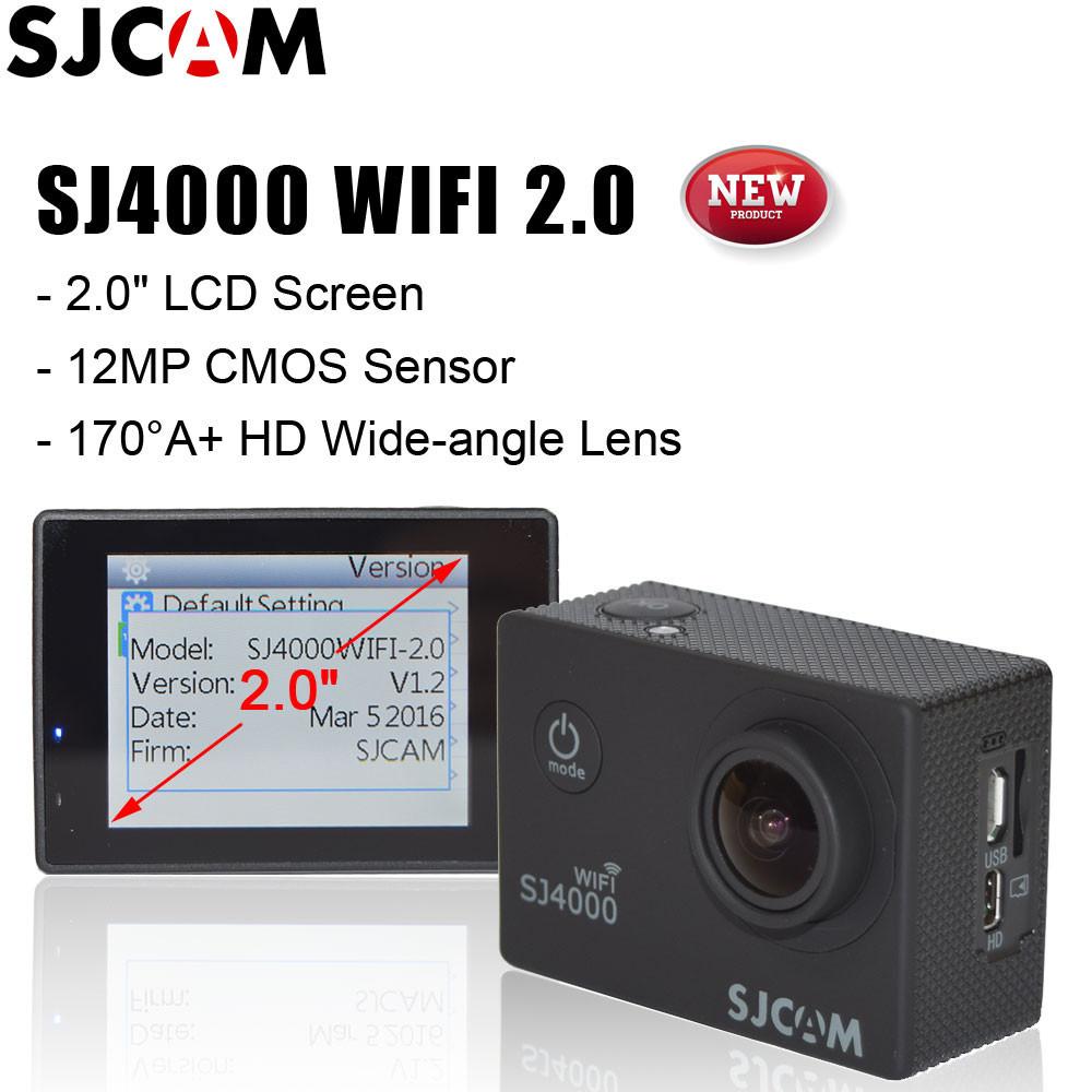 "Экшн камера SJCAM SJ4000 WiFi (v2.0) (черная - black) c 2"" дисплеем!"