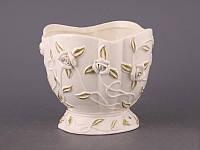 """Кашпо керамическое 15х14 см. """"Белые розы"""" белый, круглый"""
