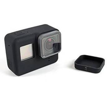Силиконовый чехол, футляр с крышкой на объектив для экшн камер GoPro Hero 5, 6, 7 - черный (код № XTGP347)