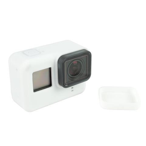 Силиконовый чехол, футляр с крышкой на объектив для экшн камер GoPro Hero 5, 6, 7 - белый (код № XTGP347)