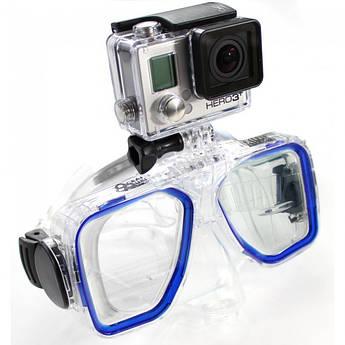 Маска для дайвинга с креплением для экшен камер Xiaomi YI, SJCam, GoPRO - синего цвета (код № XTGP291)