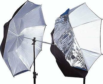 Фото-зонт 110 см для фотостудии 2 в 1 (на отражение черно-серебряный, плюс белый)