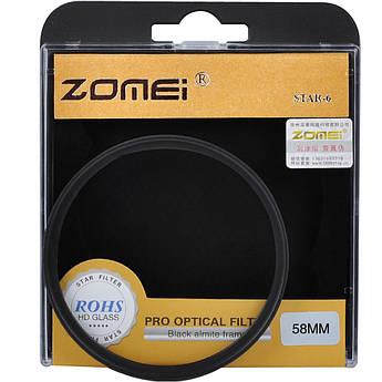 Звездный (STAR-6), 6-ти лучевой светофильтр ZOMEI 58 мм - стекло