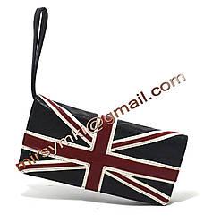 Клатч женский британский флаг black (14x27x7 длина ручки 1м 30)