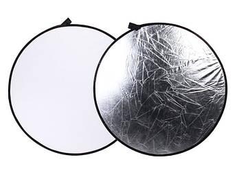 Фото рефлектор - отражатель 2 в 1 диаметром 60 см (белый - серебряный)
