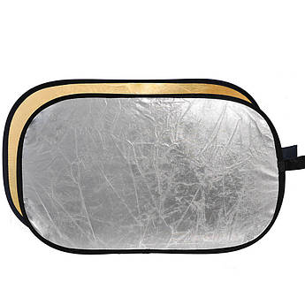Фото рефлектор - отражатель овальный (прямоугольный) 2 в 1 диаметром 90 х 120 см (серебряный - золотой)