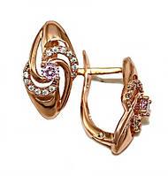 Серьги фирмы XР, цвет советского золота. Камень: белый и розовый циркон. Высота серьги 1,7см. ширина 9 мм.