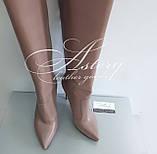 """Женские кожаные ботфорты цвета """"пудры"""" на высоком каблуке, фото 2"""