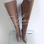 """Женские кожаные ботфорты цвета """"пудры"""" на высоком каблуке, фото 3"""