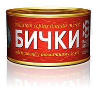 """Бычки обжаренные в томатном соусе ключ 240 г """"Baltik breeze"""""""