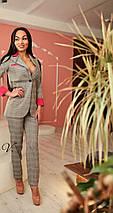 Женский брючный костюм-двойка с удлинённым жакетом и брюками с подворотом, фото 2
