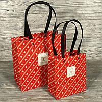 Продажа кратно 12 шт! Подарочный пакет ПРЕМИУМ КЛАСС красный 1810404-133 (20*20*10 см)