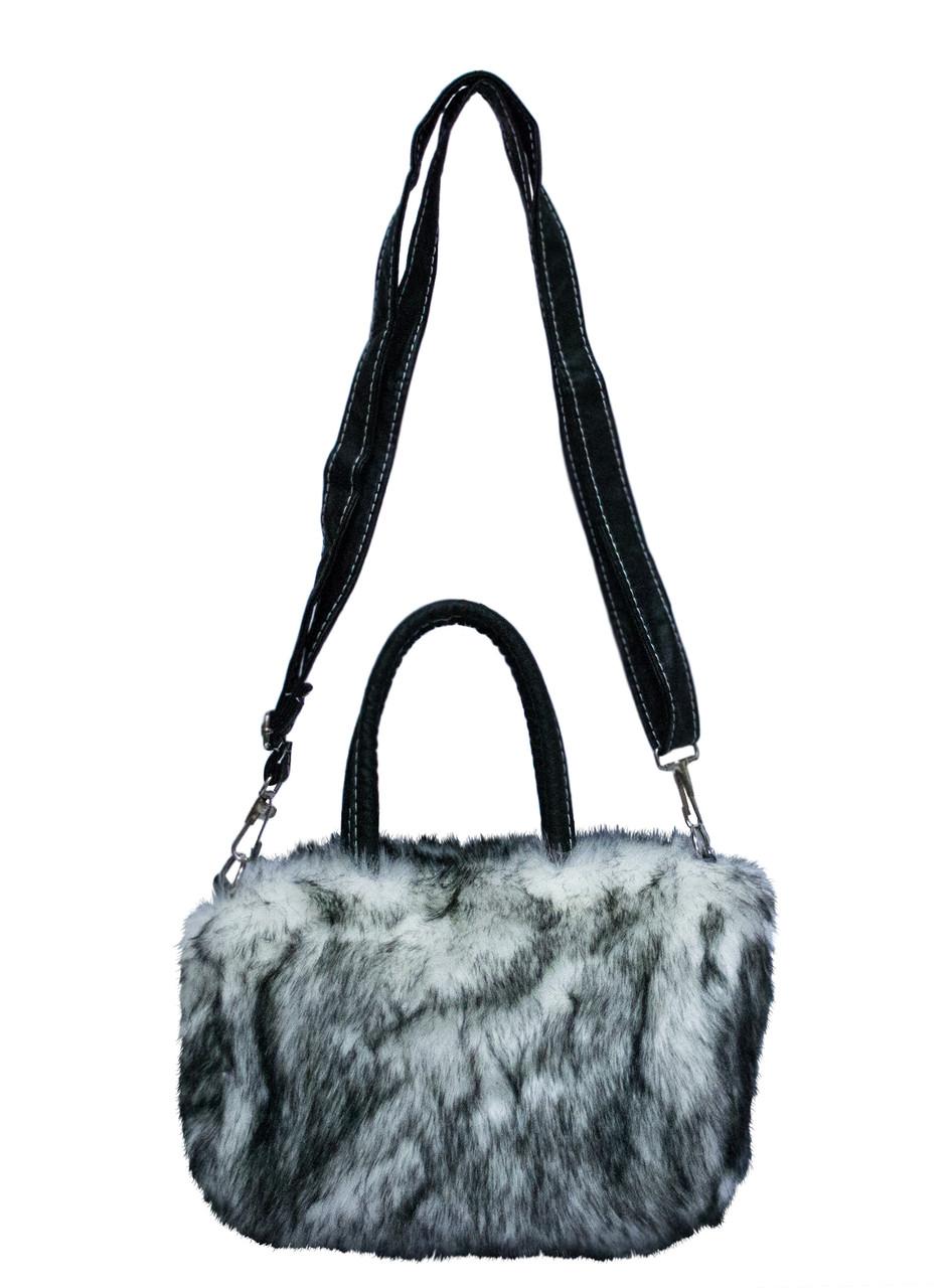 Меховая сумка 7 Цветов Черно-Белый (Размер 25*16*10)