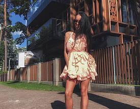 Пышное платье-мини из двойного шифона с рюшами, фото 2
