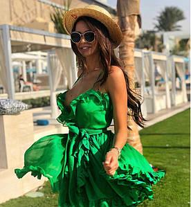 Пышное платье-мини из двойного шифона с рюшами