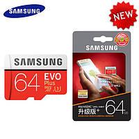 Карта памяти Samsung 64GB microSD class 10 UHS-I EVO PLUS. Переходник в подарок!