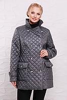 Стёганная куртка на пуговицах модель 207,  6 расцветок ( 50-64) сталь
