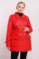 Стёганная куртка на пуговицах модель 207,  6 расцветок ( 50-64) ярко-красная