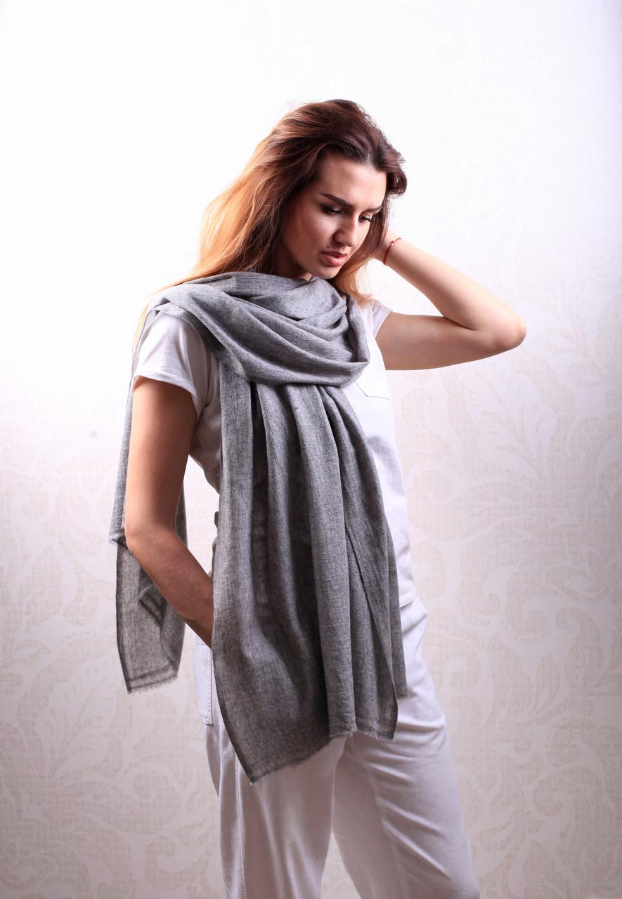 Кашемировый вуальный шарф Chadrin серый